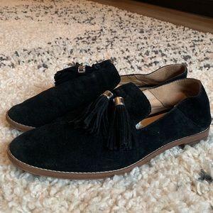 Black suede loafers w tassel